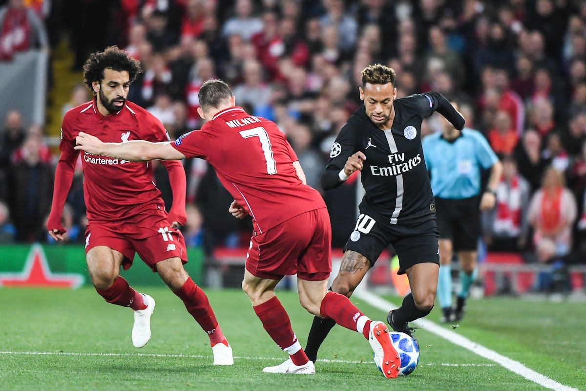 Mohamed Salah and James Milner of Liverpool and Neymar Jr of PSG during the Champions League