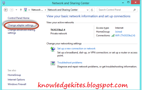 see or change wifi or internet password in windows 8 or 8.1 - Step 2