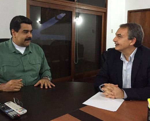 """Maduro se reúne con Zapatero """"para avanzar en el diálogo"""""""