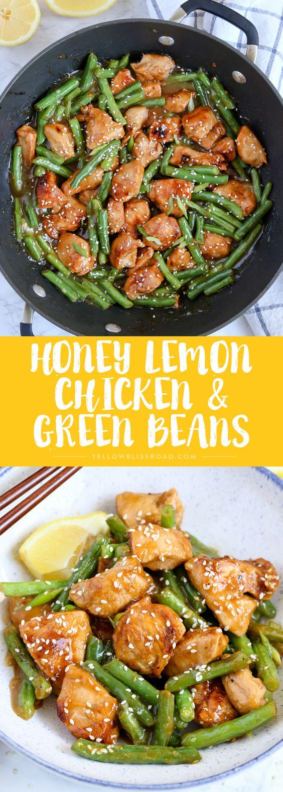 HONEY LEMON CHICKEN AND GREEN BEANS STIR FRY