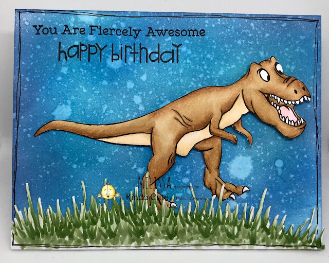 Birthday card using T-rex digital stamp