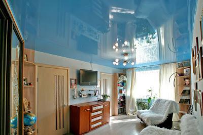 Синие и голубые цвета натяжных потолков в городе Лабинске
