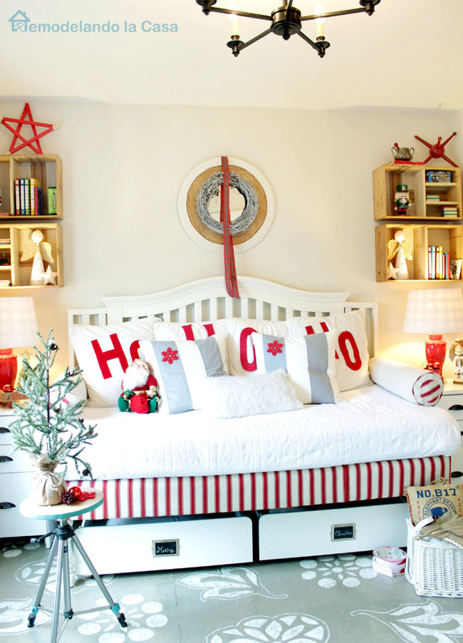 guest bedroom decorated for Christmas