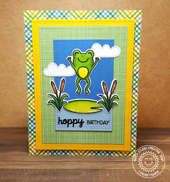 Sunny Studio Stamps: Froggy Friends Hoppy Birthday Frog Card by Lindsey Sams @sunnystudiostamps