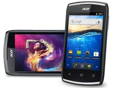 Acer Liquid Z110 Specifications - LAUNCH Announced 2012, October DISPLAY Type TFT capacitive touchscreen, 256K colors Size 3.5 inches (~53.9% screen-to-body ratio) Resolution 320 x 480 pixels (~165 ppi pixel density) Multitouch Yes BODY Dimensions 110 x 61.5 x 12.3 mm (4.33 x 2.42 x 0.48 in) Weight 100 g (3.53 oz) SIM Dual SIM (Mini-SIM, dual stand-by) PLATFORM OS Android OS, v2.3 (Gingerbread) CPU 1.0 GHz Cortex-A9 Chipset Mediatek MT6575 GPU PowerVR SGX531 MEMORY Card slot microSD, up to 32 GB (dedicated slot) Internal 4 GB, 512 MB RAM CAMERA Primary 3.15 MP Secondary No Features Geo-tagging, touch focus Video Yes NETWORK Technology GSM / HSPA 2G bands GSM 850 / 900 / 1800 / 1900 - SIM 1 & SIM 2 3G bands HSDPA 2100 - SIM 1 only Speed HSPA 7.2/0.384 Mbps GPRS Yes EDGE Yes COMMS WLAN Wi-Fi 802.11 b/g/n NFC No GPS Yes, with A-GPS USB microUSB v2.0 Radio FM radio Bluetooth v3.0, A2DP FEATURES Sensors Accelerometer, proximity Messaging SMS (threaded view), MMS, Email, Push Email Browser HTML Java Yes, via Java MIDP emulator   SOUND Alert types Vibration; MP3, WAV ringtones Loudspeaker Yes 3.5mm jack Yes  - SRS audio BATTERY  Removable Li-Po 1300 mAh battery Stand-by Up to 450 h Talk time Up to 5 h Music play  MISC Colors Black, White SAR EU 0.53 W/kg (head)     0.64 W/kg (body)    - MP3/WAV/WMA/eAAC+ player - MP4/H.264 player - Document viewer - Photo viewer/editor