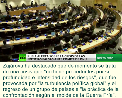 """Zajárova en la ONU: """"La libertad de expresión y objetividad se sacrifican a la coyuntura política"""""""