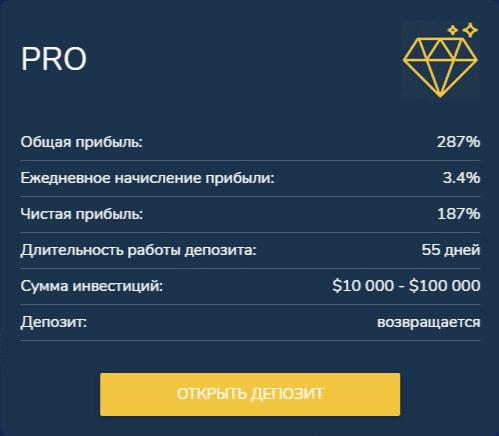 Инвестиционные планы B2B Diamond 3