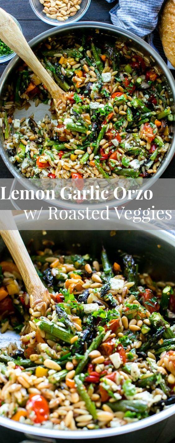 LEMON GARLIC ORZO WITH ROASTED VEGETABLES #lemon #garlic #orzo #roasted #vegetables #vegetarian #vegetarianrecipes #veggies #veganrecipes