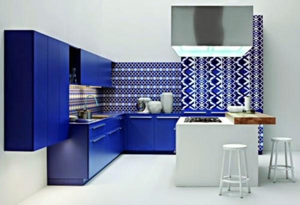 cocina moderna azul