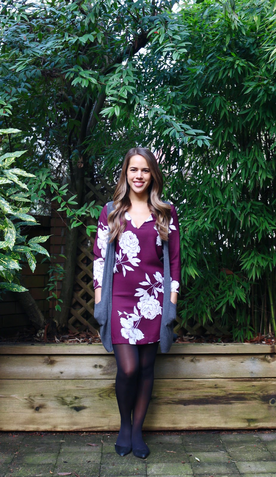 Jules in Flats - Floral Shift Dress with Sweater Vest (Business Casual Winter Workwear on a Budget)