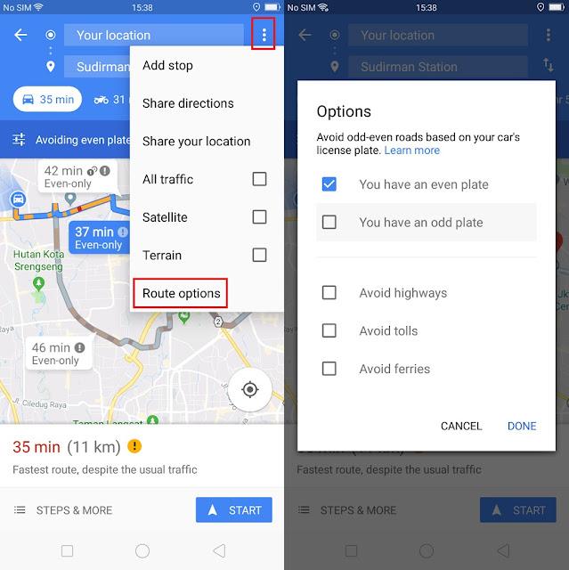 Cara Menggunakan Fitur Ganjil Genap di Google Maps
