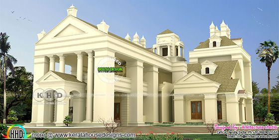6 BHK Colonial style home architecture