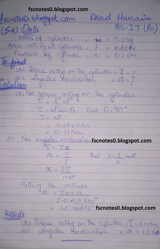 F.Sc ICS Notes: Physics XI: Chapter 5 Circular Motion Numerical Problems by Asad Hussain 2
