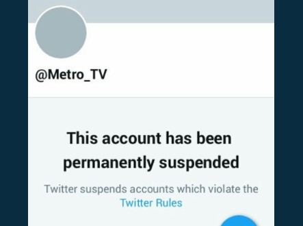 KOMINFO : Karna Banyak Laporan dari Netizen Akun @Metro_TV Disuspend