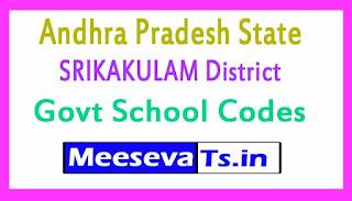 SRIKAKULAM District Govt School Codes in Andhra Pradesh State