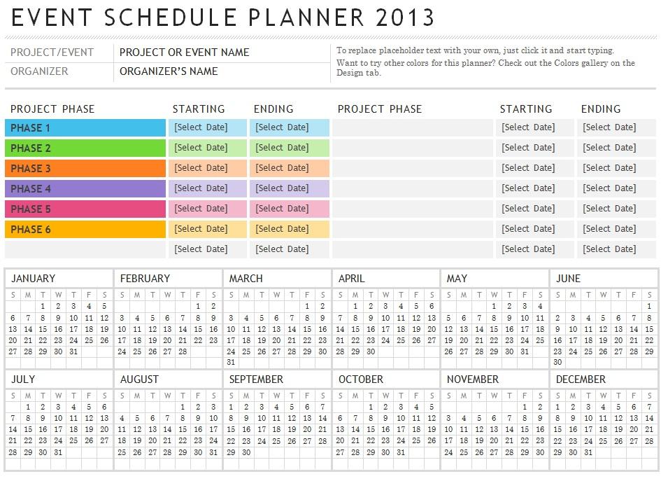 event schedule planner template - sample activity calendar template