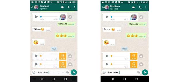 Texto em negrito Whatsapp