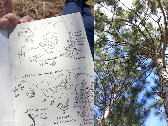 drawing under the trees - betitu's quest sketchbook