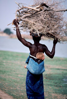 Woman carrying firewood in Segou South-Central Mali.
