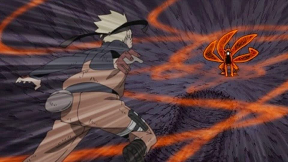 Sora transformado golpea a Naruto