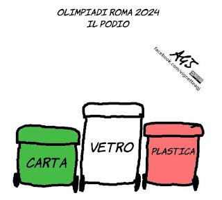 roma, rifiuti, AMA, immondizia, olimpiadi, roma 2024, vignetta, satira