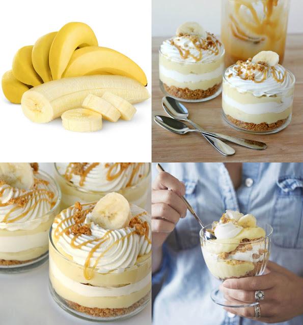 أشهى طريقة لعمل حلى طبقات الموز بالكاسترد والكراميل والكريمة بسهولة في المنزل!