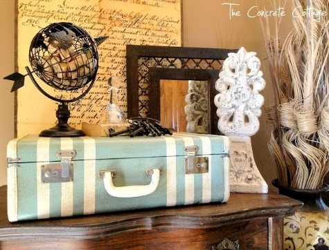 Blue and White Beachy Suitcase Decor