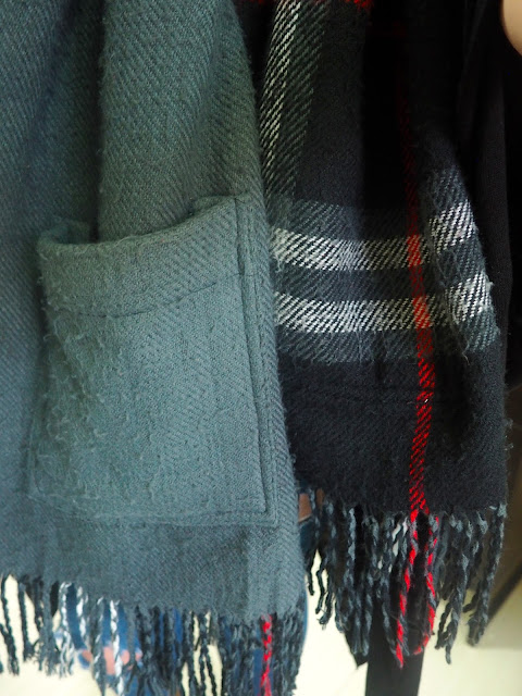 Rough Around the Edges | outfit details of double sided scarf, grey with pockets and black and red tartan