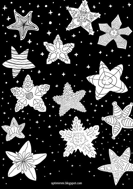 A coloring page of shining stars / Värityskuva loistavista tähdistä