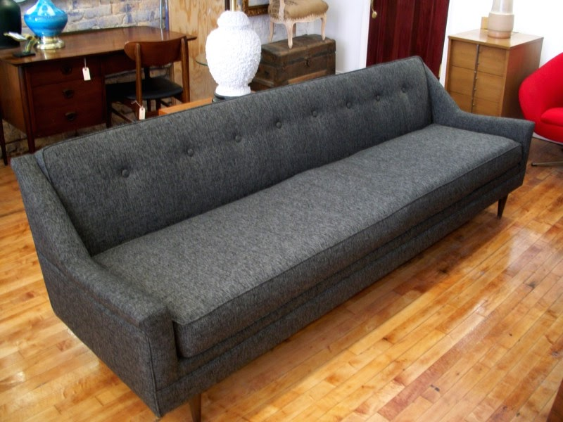 An Orange Moon Gentleman S Grey Mid Century Modern Sofa