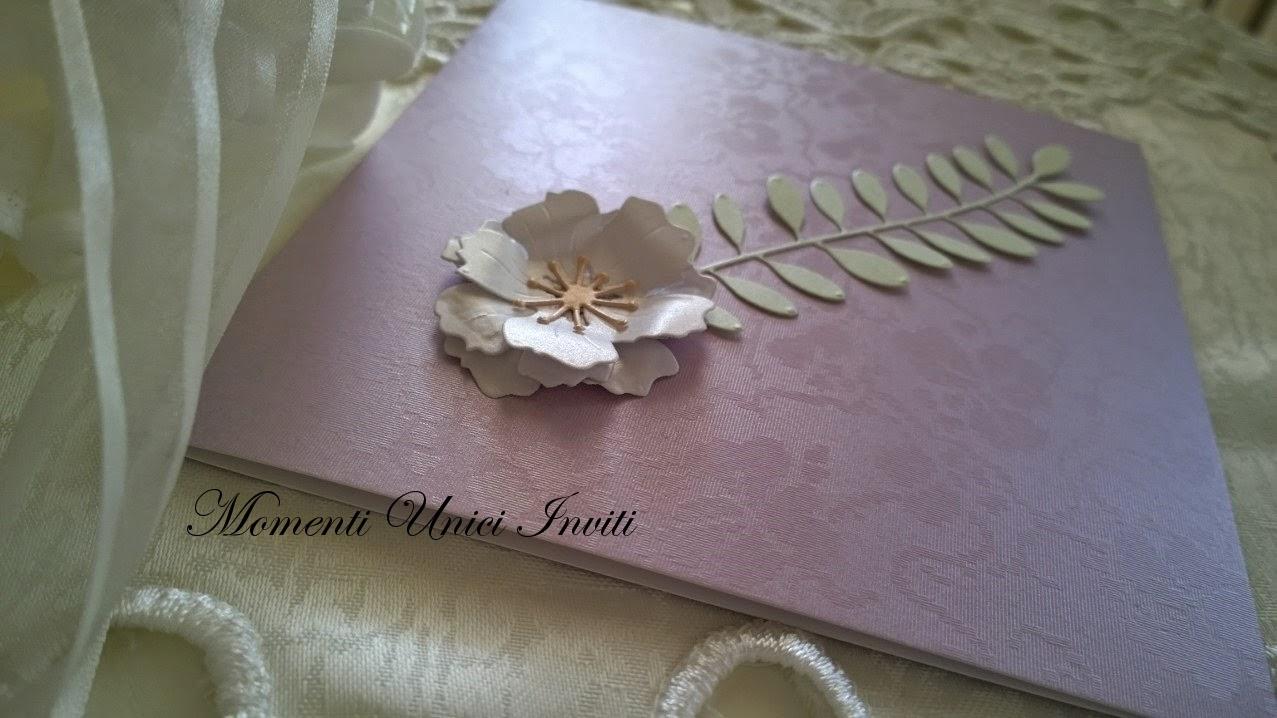 """27 Partecipazione """"Gemma in fiore""""Colore Lilla Linea Floreale"""