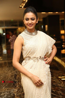 Actress Rakul Preet Singh Stills in White Dress at Winner Pre Release Function  0025.jpg