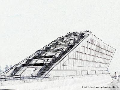 Dockland Hamburg, Konturen,Umriss, scharz weiss, Silhouette