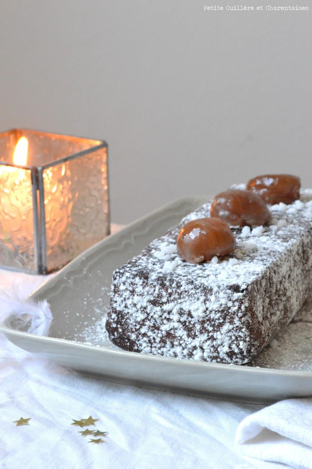 Petite cuill re et charentaises b che fondante chocolat for Buche de noel chocolat marron