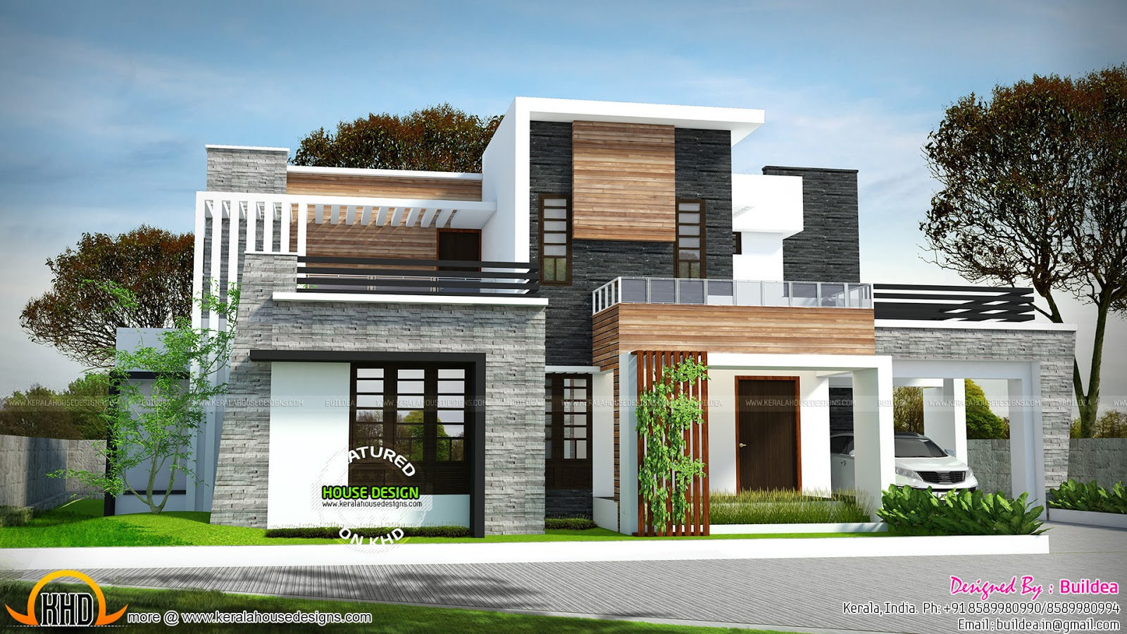 2729 sq ft 4 bedroom flat roof modern house kerala home for Modern flat design