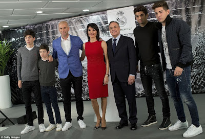 Zinedine Zidane And His Family At His Unveiling As Real Madrid's New Coach. Photos