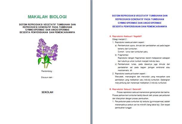 Contoh Makalah Biologi - Sistem Reproduksi Vegetatif dan Generatif Tumbuhan