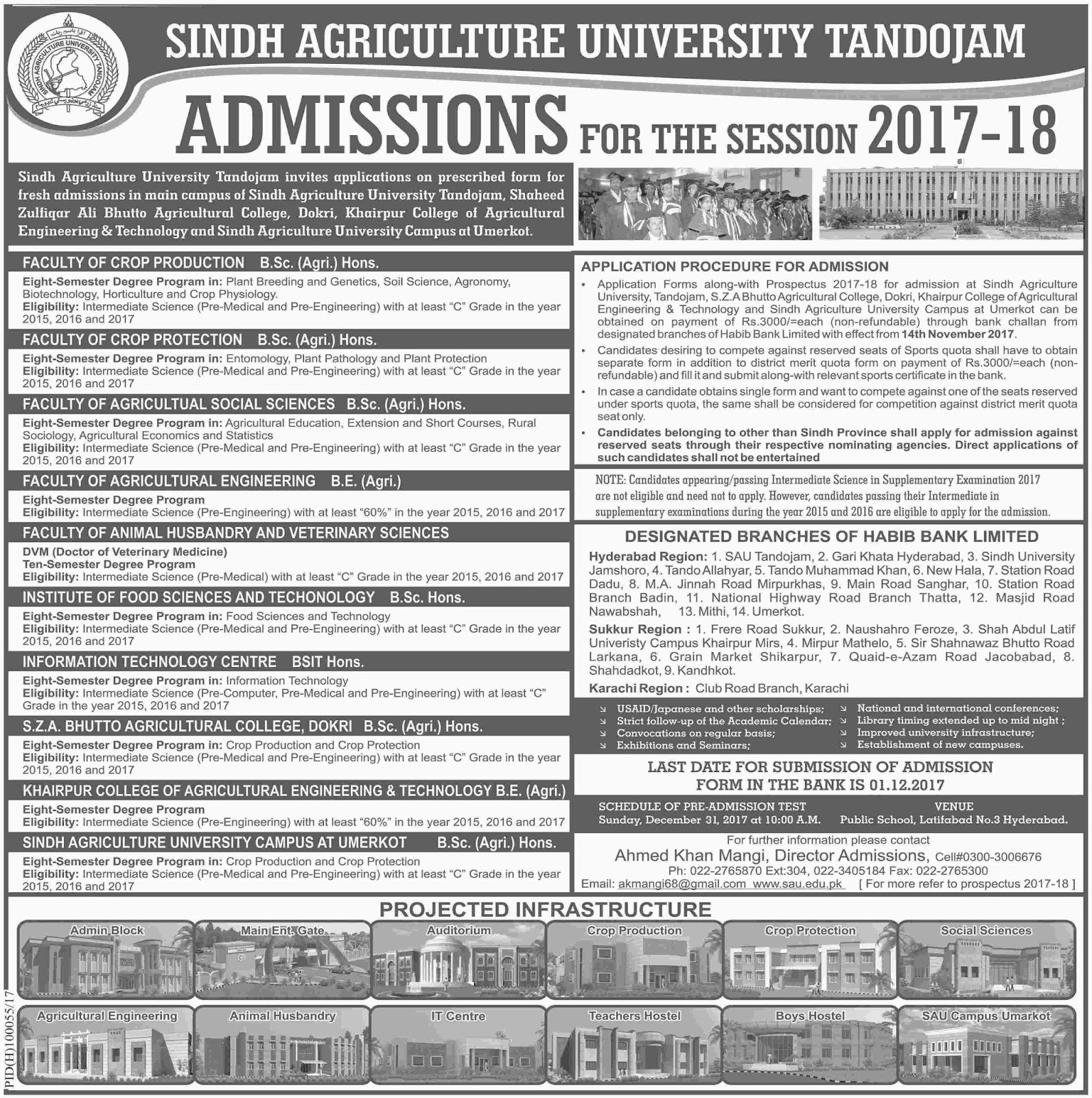 Admissions Open in Sindh Agriculture University - Tandojam