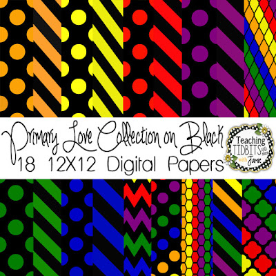 Digital Paper:  Primary Love Collection on Black by Teaching Tidbits and More with Jamie