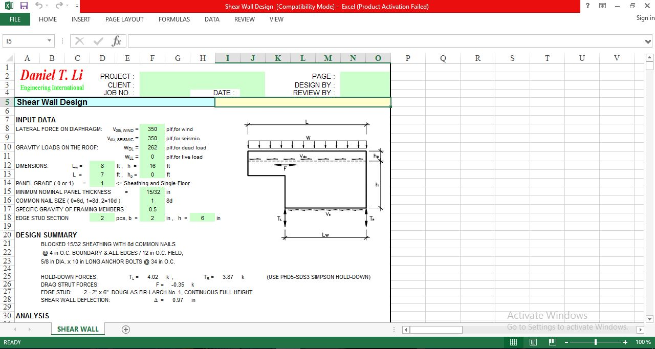 Excel Spreadsheet for Design Shear Wall