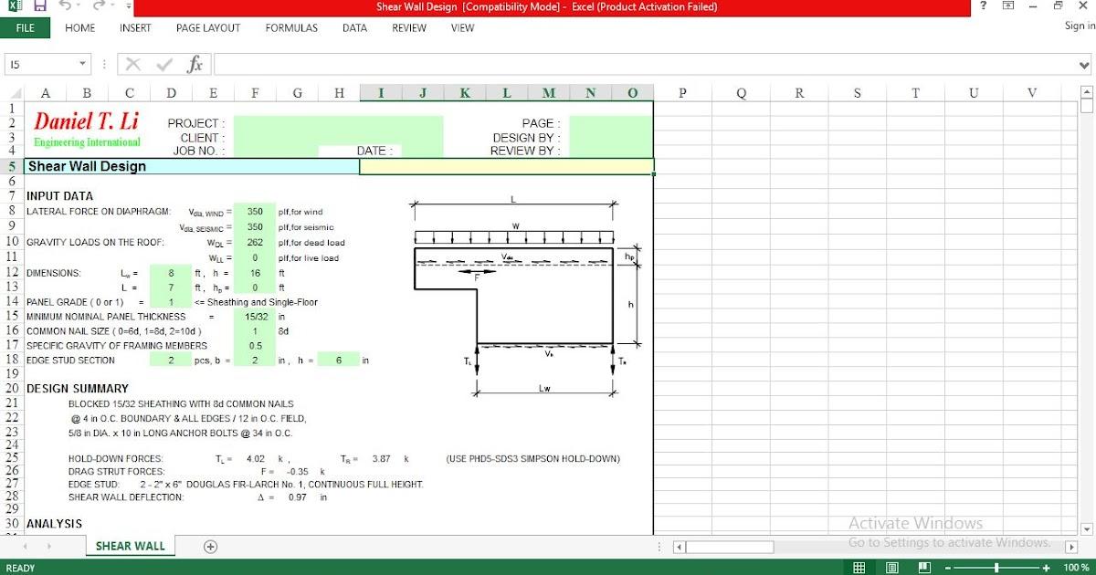 Excel Spreadsheet For Design Shear Wall