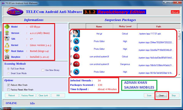 Android Phone ေတြမွာ အလိုလိုဝင္လာတဲ့ Sexy Virus ေတြကို ရွင္းလင္းေပမယ့္ Telecom Android Anti-Malware 3.1.3
