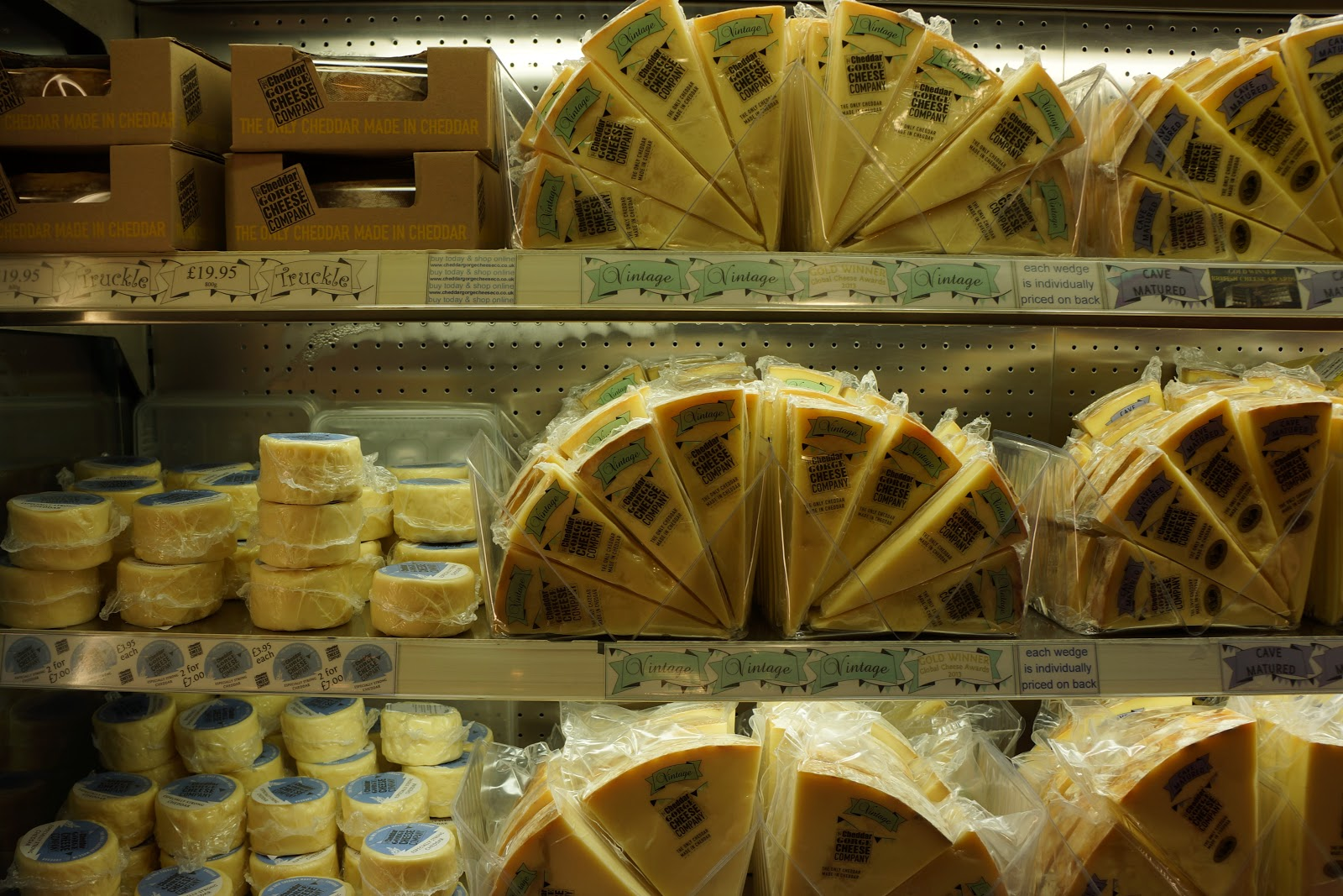 Cheese counter at Cheddar Gorge Cheese Company shop