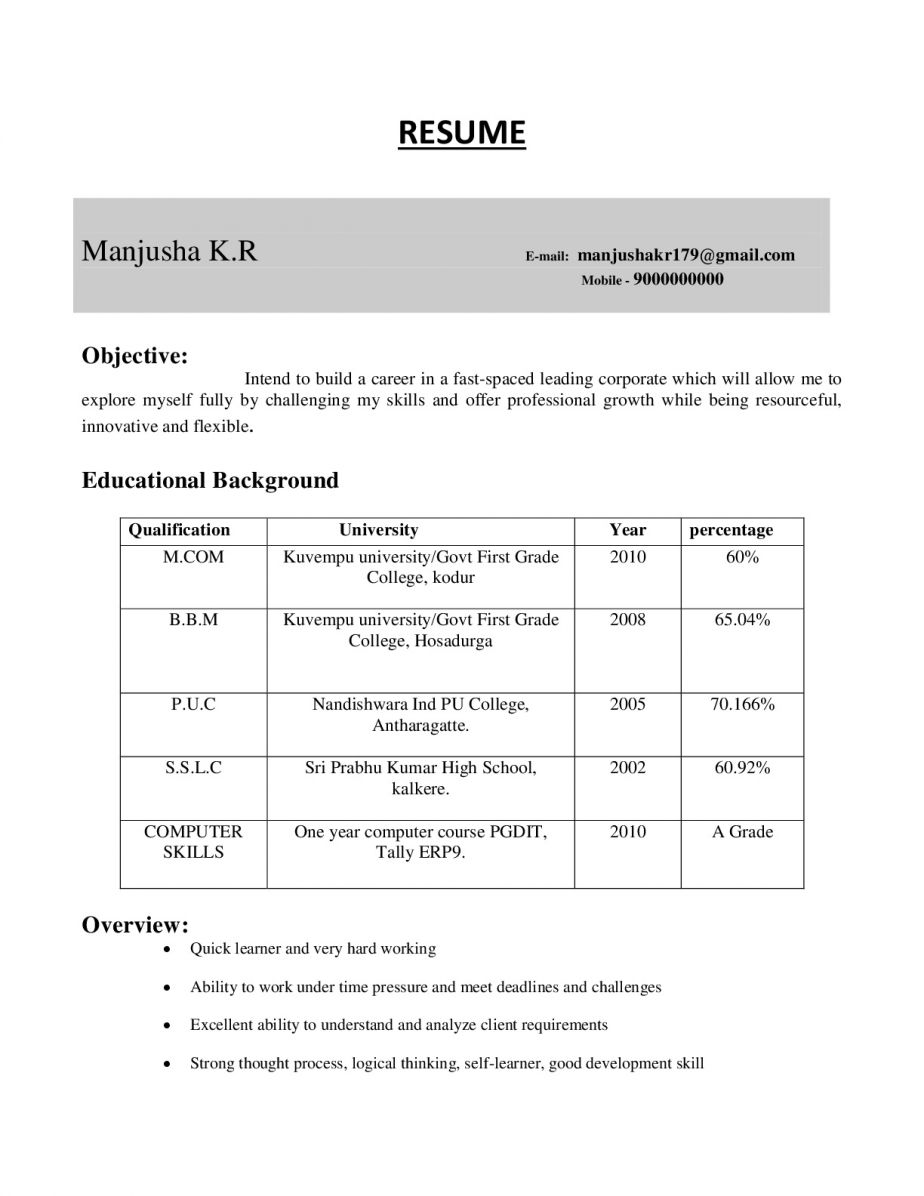 M Com Resume Cv Samples For Freshers Resume Samples Projects