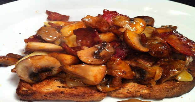 Umami Breakfast With Bacon, Mushrooms And Lancashire Cheese Recipe