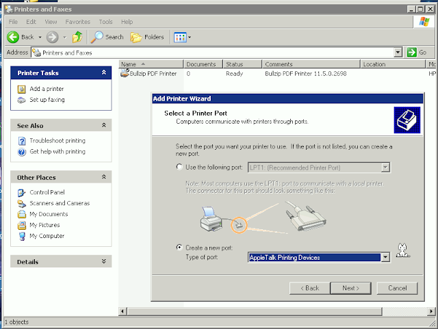 Supratim Sanyal's Blog: Add AppleTalk Printer Port on Windows XP