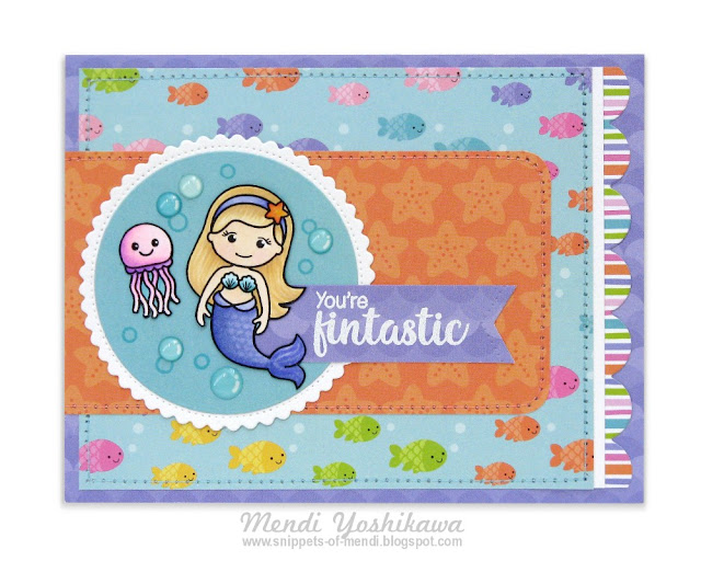 Doodlebug Designs Under The Sea & Sunny Studio Stamps Magical Mermaids Girly Summer Card by Mendi Yoshikawa