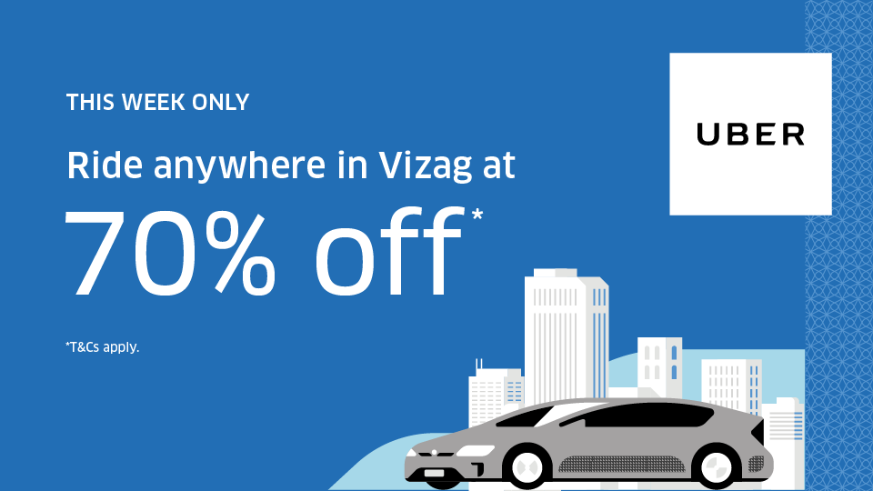 Vizag ! Get 70% Off On Your Next 5 Rides