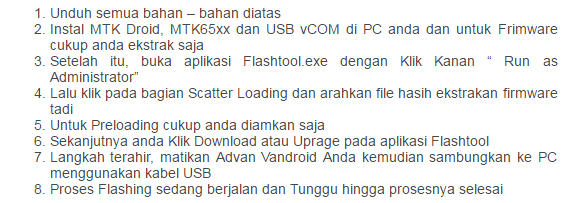 Cara Flash Advan Vandroid S5J Menggunakan Flashtool