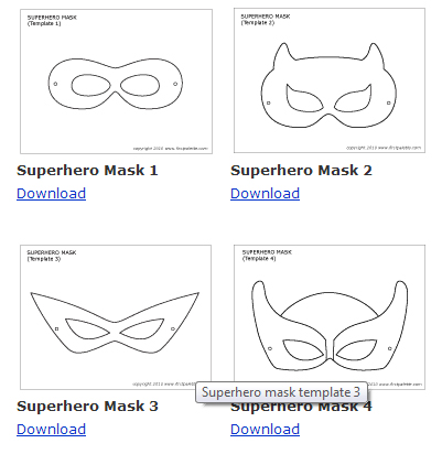 Party simplicity comic book super heroes boys party ideas for Superhero mask template for kids